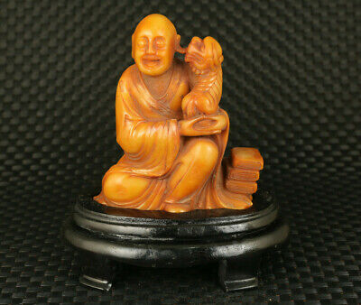 big rare chinese antique natural shoushan stone hand carved Buddha Kylin statue