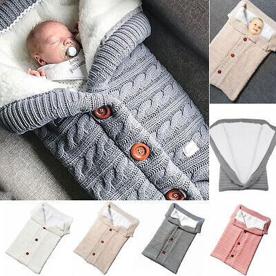 Winter Warm Baby Blanket Crochet Swaddle Wrap Sleeping Bag Wool Knit Thick Quilt