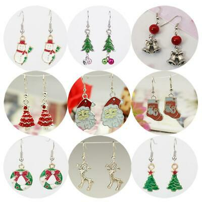 Xmas Christmas Earrings Santa Snowman Angel Various