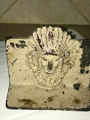 Antique Figural Native American Indian Chief Doorstop/Bookend Cast Iron