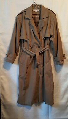 Charles Klein Long Trench Coat Size 8 Removable Lining Belted Poland Dark Khaki