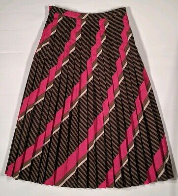 Women's Vintage Alexon By Fletcher Jones Geometric Striped Pleated Skirt Size 12