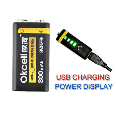 OKcell 9V 800mAh USB Rechargeable Battery for Toy Helicopter Model Microphone