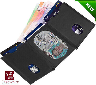 Mens Small Trifold Genuine Leather Wallets RFID Blocking Wallets with Zip Coin P