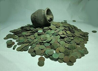 50pcs.European ( Uncleaned ) copper coins 1660-66 years Solid Poland,Lithuania