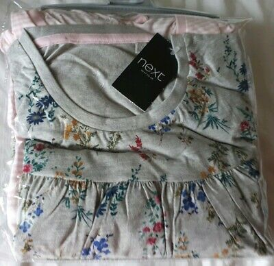 BNWT 2 pairs Next girls pink stripe & grey floral print pyjamas age 11 Years