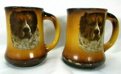 Antique Taylor Smith TST Pottery Circa 1908 Saint St. Bernard Dog Mug Lot (2)