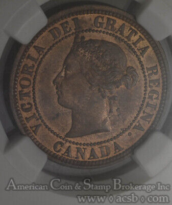Canada 1c One Cent 1881 H MS64 RB NGC KM#7 DDO ERROR MIxed Font Double Legend