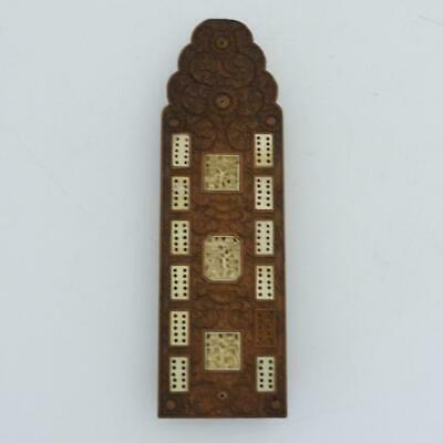 Antique Chinese Canton Carved Boxwood Cribbage Game Board, 19Th Century