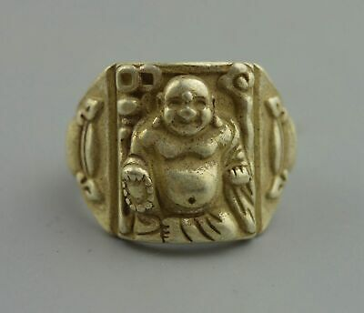 Collection Handwork old Miao Silver Carve Buddha Head Exorcism Pray Usable Ring