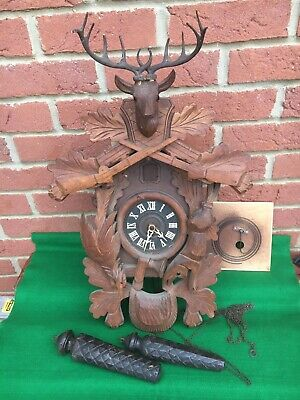 Old Vintage Black Forest Hunting Cuckoo Clock Stag