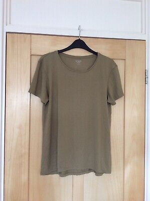 Marks and Spencer M/&S Khaki Green /& Blue Striped Tunic Tshirt Top Size 12-20 A13