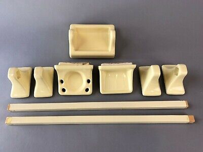 9 pc Yellow ceramic tile porcelain vintage Bathroom Fixtures soap dish towel bar