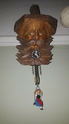 Vintage wooden bearded retro Cuckoo clock kitsch