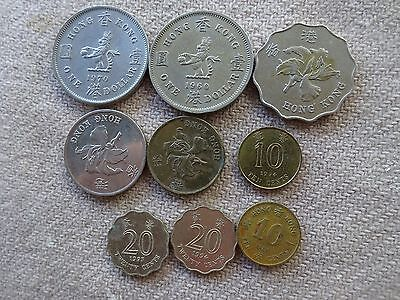 9 Assorted Hong Kong Coins