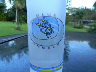 "Blue Angels  4 1/8 "" Frosted Bright Logo  Shot Glass See Thru Opening Nice One"