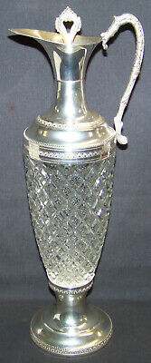 Vintage Pressed Glass Silver Plate Pitcher Decanter w/ Stopper Made In Italy
