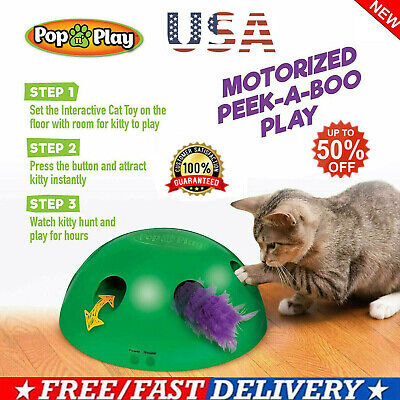Automatic Pop N' Play Interactive Motion Cat Toys Mouse Tease Electronic Pet Toy