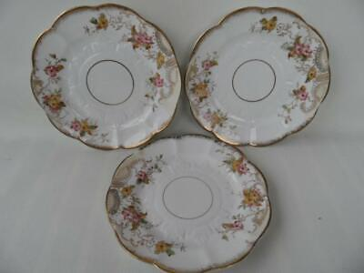 3 x Antique Edwardian  white porcelain hand painted pink floral gold edge plates