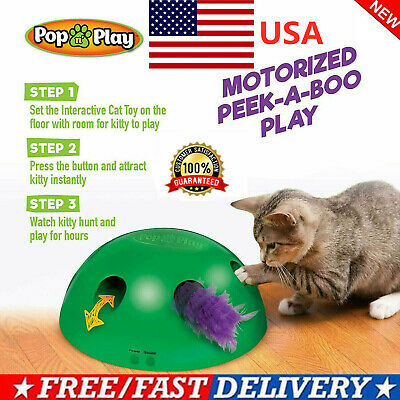 Pop N' Play Interactive Motion Cat Toy Mouse Tease Electronic Pet Toys USA HOT!!