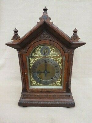 Antique Oak Cased Winterhalder & Hofmeier Ting Tang Bracket Clock