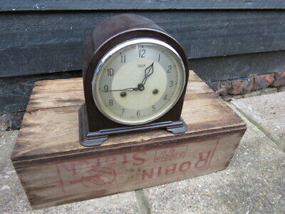 Vintage Smiths Enfield Bakelite 8 Day Striking Mantel Clock For Tlc