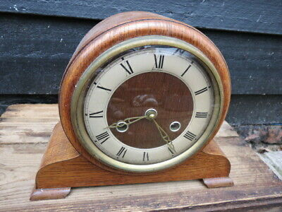 Vintage Oak Cased 8 Day Striking Perivale Bentima Mantel Clock For Tlc
