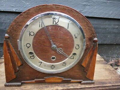 Vintage Art Deco German Westminster Chime Mantel Clock For Spares Or Repair