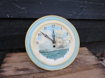 Vintage Smiths Tinplate Ship Decorated Plate Wall Clock