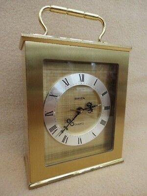 Vintage Swiza Heavy Brass Quartz Alarm Carriage Clock