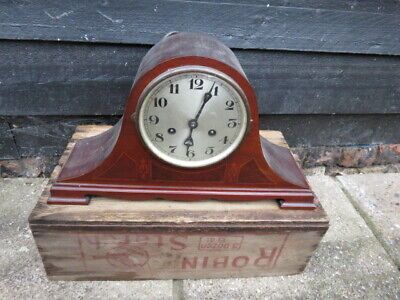 Antique Mahogany Inlaid German Hb Striking Clock For Restoration