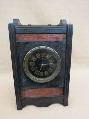 Antique French Aesthetic Movement Slate And Marble Mantel Clock For Restoration