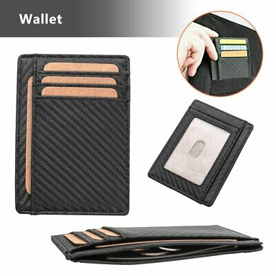 RFID Blocking Purse Flip Leather Wallet Slim Credit Card Holder Money Clip D@