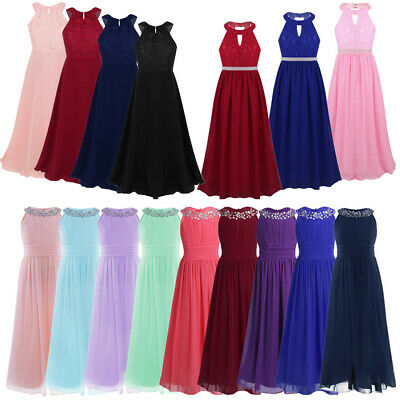 Kid Flower Girl Dress Pageant Formal Gown Wedding Bridesmaid Maxi Dress for Teen