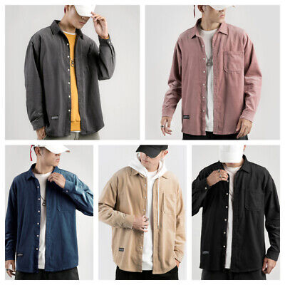 Men's Corduroy Casual Shirts Tops Solid Long Sleeve Loose Oversized Fashion