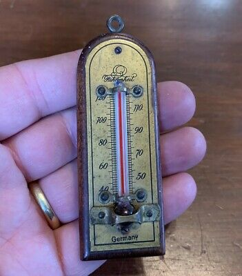 Antique Brass and Wood Miniature Wall Hanging Thermometer, made in Germany