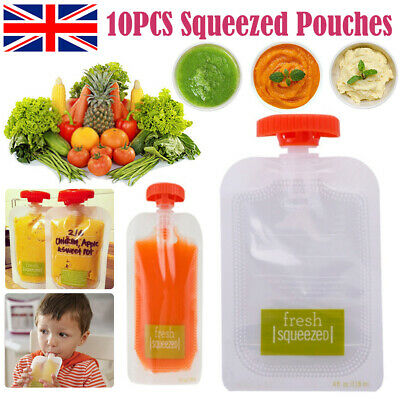 10PCS Fresh Squeezed Pouches baby Weaning Food Puree kids Homemade Storage bag