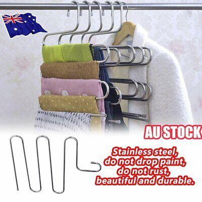 layer Pants Hangers Trousers S Type 5 Layer Holder Scarf Tie Towel Rack Multi ZV