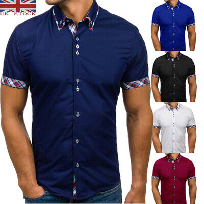 UK STOCK Mens Short Sleeve Casual Slim Fit Button-down Formal Shirts Tops Summer