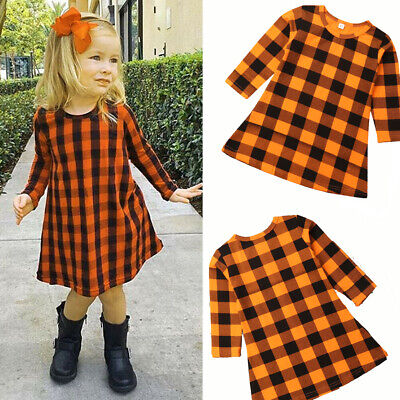 Baby Kids Girl's Princess Plaid Autumn Dresses Party Pageant Tutu Dress Clothes