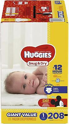 HUGGIES Snug & Dry Diapers, Size 1, 208 Count (Packaging May Vary)