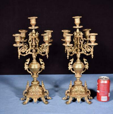 "*17"" Tall Pair of Vintage French Bronze Candelabra Candlesticks"