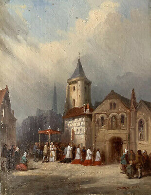 VERY FINE 1850s FRENCH SIGNED OIL ON WOOD PANEL - PROCESSION OUTSIDE CITY CHURCH