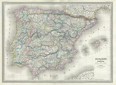 1860 Dufour Map Of Spanien und Portugal