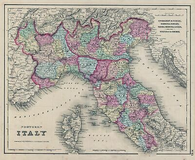 1855 Colton Map Of Northern Italien