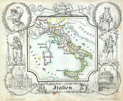 1846 Lowenberg Whimsical Map Of Italien
