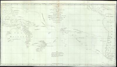 1773 Hawkesworth Map of Captain Cook's First Voyage in the Paciifc