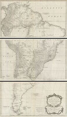 1755 Postlethwayte Three Panel Wall Map of South America