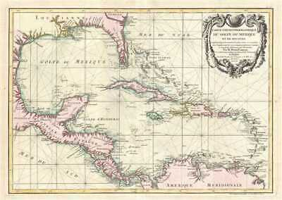 1762 Zannoni Map of Central America and the West Indies ( Caribbean )