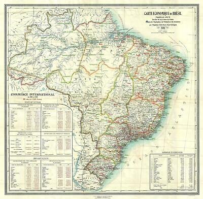 1911 Rodrigues Economic Map of Brazil during Rubber Boom